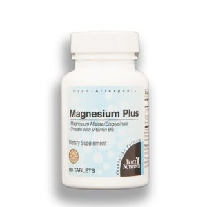 Magnesium with vitamin B6 in bottle