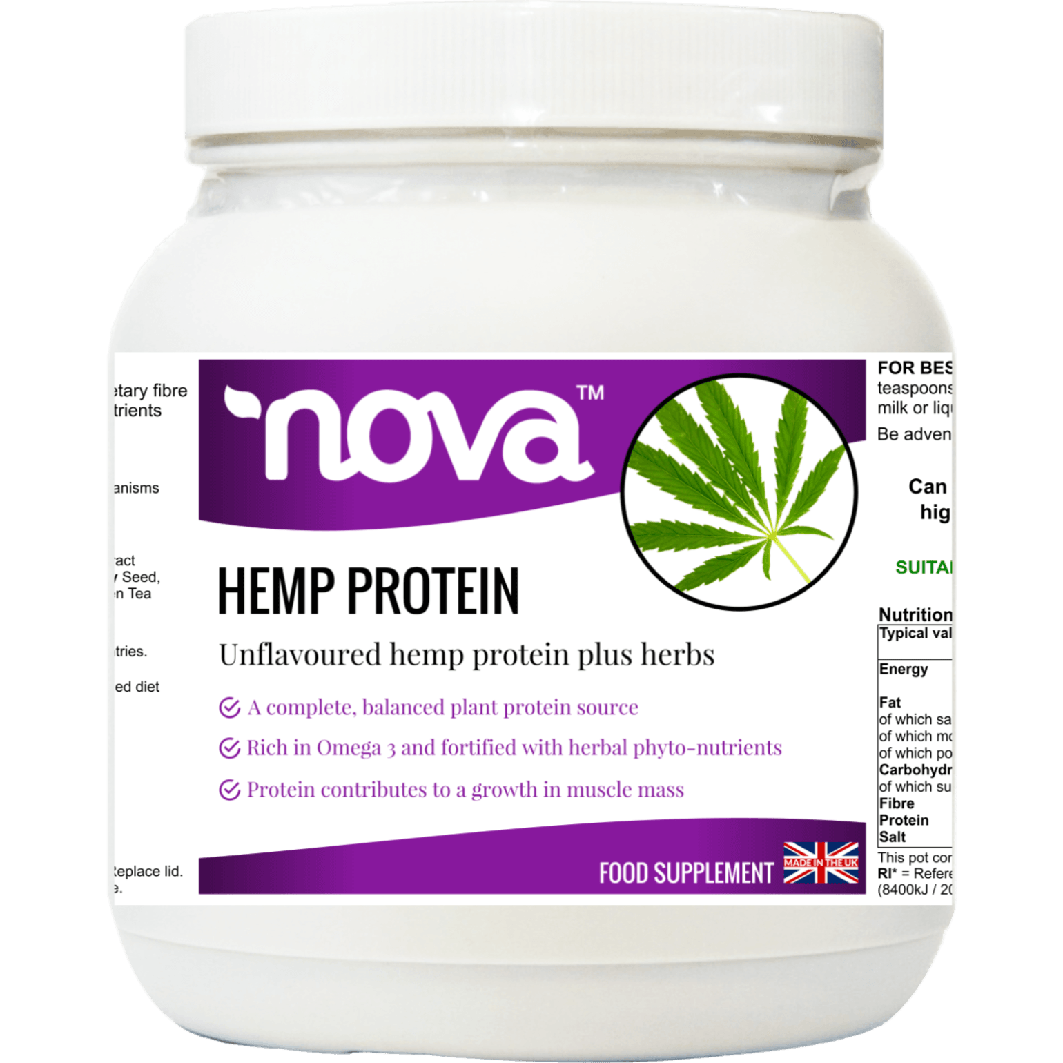 Hemp Protein Meal Replacement Shake Protein Powder Work Out Muscle Repair 500g Nova Detox